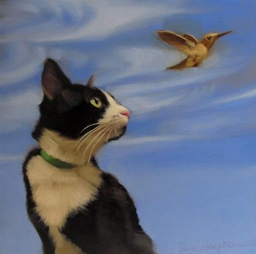 """Fly Away new cat & bird painting"" original fine art by Diane Hoeptner"
