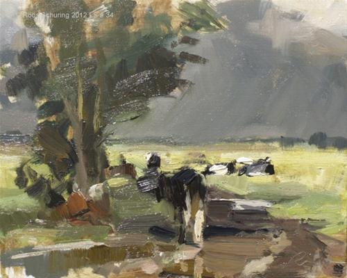 """""""Landscape spring #34 Cow walking light and findings - Koeien"""" original fine art by Roos Schuring"""