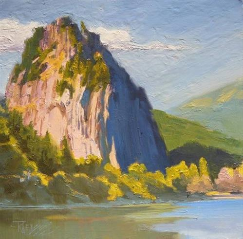 """Beacon Rock  State Parks , plein air , oil painting by Robin Weiss"" original fine art by Robin Weiss"