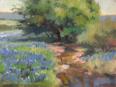 """Bluebonnet Stream 1"" original fine art by V.... Vaughan"