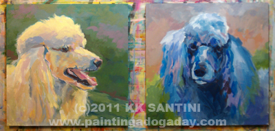 """""""Poodles in Process"""" original fine art by Kimberly Santini"""