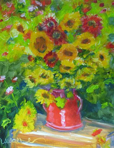 """Sunflowers and Blanket Flowers"" original fine art by Susan Elizabeth Jones"