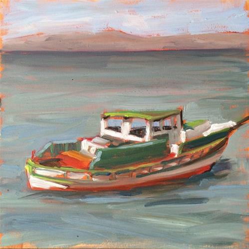 """Green Trawler"" original fine art by Deborah Newman"