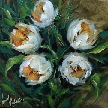 """Five Sisters White Tulips and Dangerous Encounters in the Market Today - Flower Paintings by Nancy M"" original fine art by Nancy Medina"