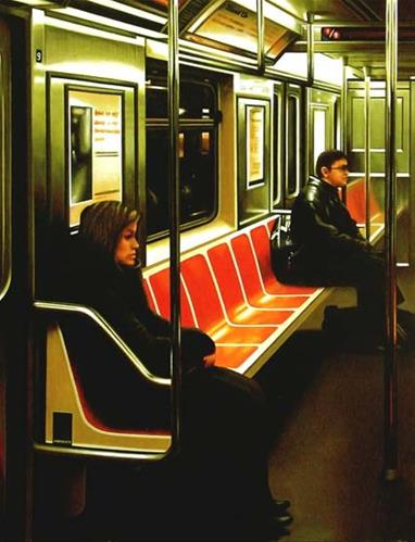 """""""Empty Seats- Painting Of Man And Woman Riding The New York Subway"""" original fine art by Gerard Boersma"""