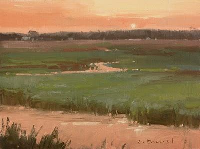 """Emerald Sunset Study"" original fine art by Laurel Daniel"