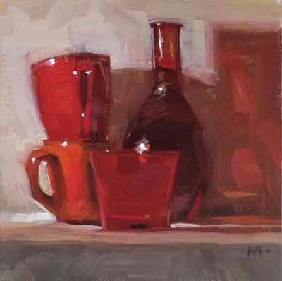 """Red Stacks"" original fine art by Carol Marine"