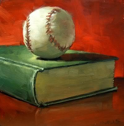 """Baseball with Book"" original fine art by Michael Naples"