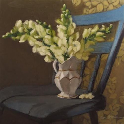 """""""Blue Chair Snapdragons flower bouquet painting"""" original fine art by Diane Hoeptner"""
