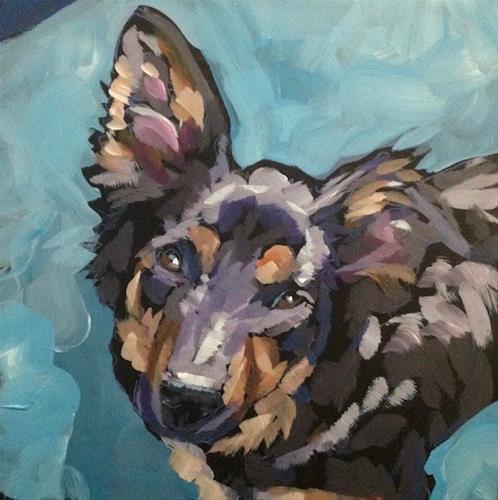 """""""Play Cafe Pup"""" original fine art by Kat Corrigan"""