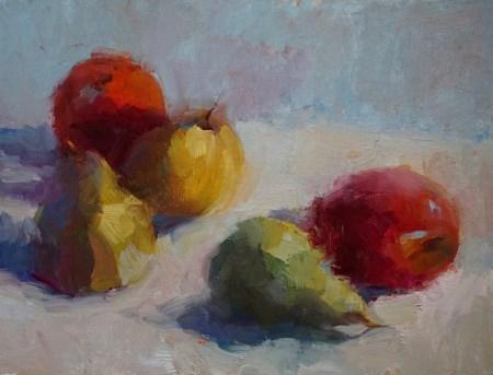 """Pears & Apples"" original fine art by Carol Myer"