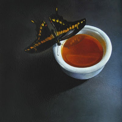 """Swallowtail and Tea  6x6"" original fine art by M Collier"