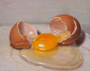 """""""Cracked Egg  (+ sharing the concept of One Hour / One Painting)"""" original fine art by Abbey Ryan"""