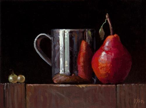 """""""Live Demo: Silver Cup, Red Pear, & Two Muscat Grapes"""" original fine art by Abbey Ryan"""