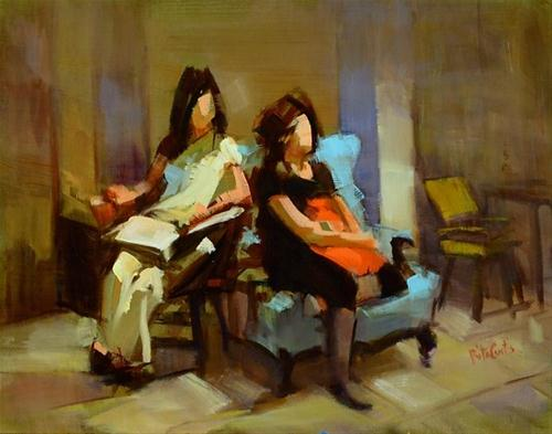 """Hanging Out"" original fine art by Rita Curtis"