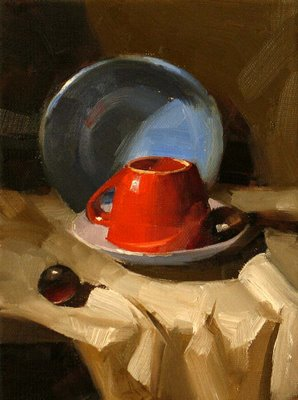 """""""Blue and Red"""" original fine art by Qiang Huang"""