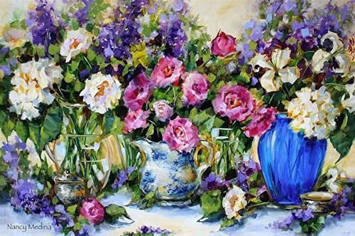 """Love Always Lily and Rose Garden"" original fine art by Nancy Medina"
