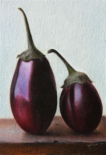 """Baby Eggplants"" original fine art by Jonathan Aller"