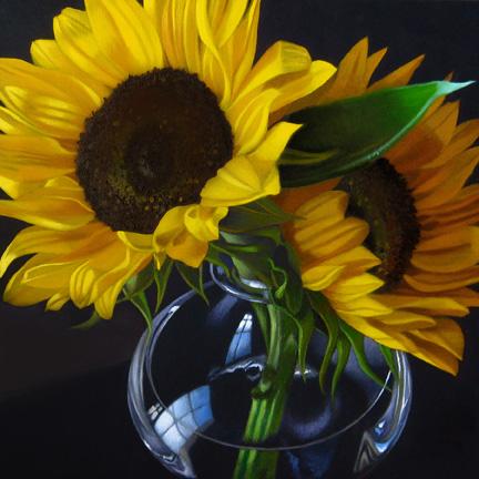 """Sunflowers 6x6"" original fine art by M Collier"