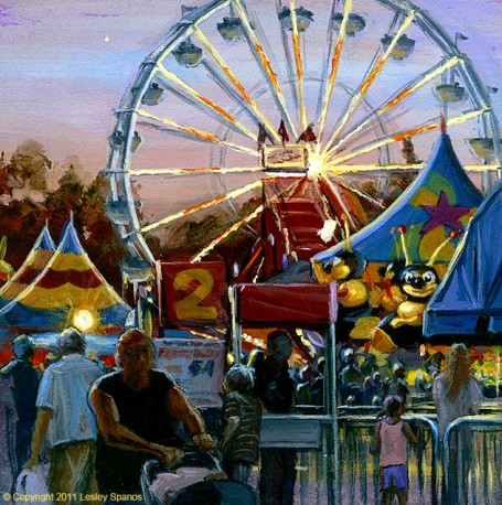 """""""Dusk on the Midway"""" original fine art by Lesley Spanos"""