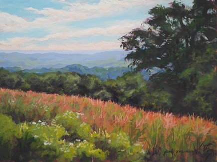 """""""Overlooking the Fields and Opening Reception at RiverWinds Gallery"""" original fine art by Jamie Williams Grossman"""