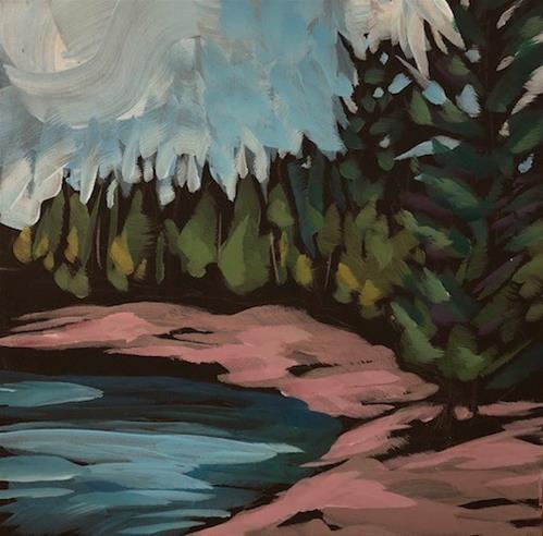 """Cobblestone Beach"" original fine art by Kat Corrigan"