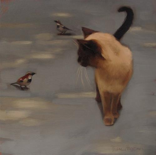 """""""Siamese and Sparrow"""" original fine art by Diane Hoeptner"""