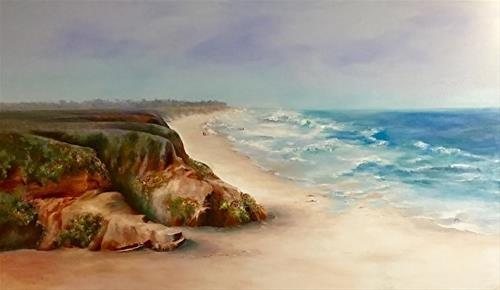 """Beach Walk, Half Moon, Bay, 3 x 5 ft, Oil, Seascape"" original fine art by Donna Pierce-Clark"