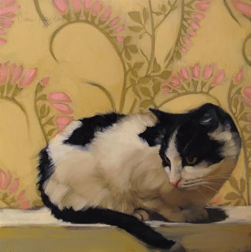 """Freesia Fran cat painting"" original fine art by Diane Hoeptner"