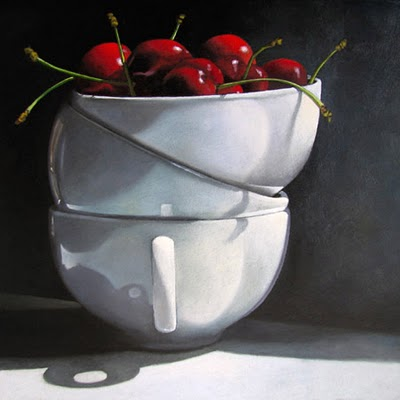 """""""Cups and Cherries  6x6"""" original fine art by M Collier"""