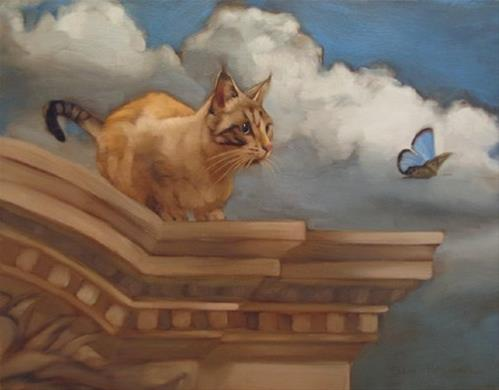 """""""Painting cats is fun and a new painting!"""" original fine art by Diane Hoeptner"""