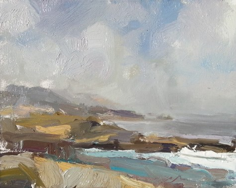 """""""Painting in California 8 Vanishing point at Sea Lion Cove"""" original fine art by Roos Schuring"""