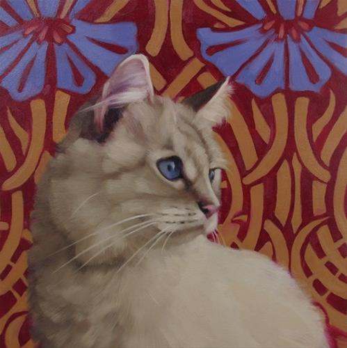 """""""Sapphire a new cat painting by Hoeptner"""" original fine art by Diane Hoeptner"""