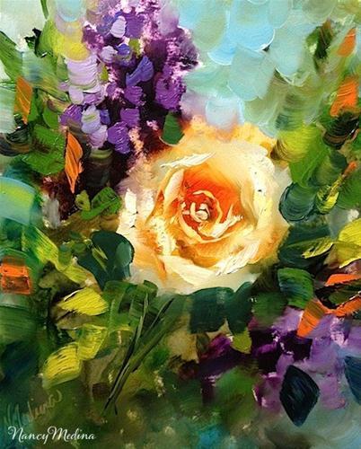 """Roses in Lavender and Big News in Flower Mound Studio by Nancy Medina"" original fine art by Nancy Medina"