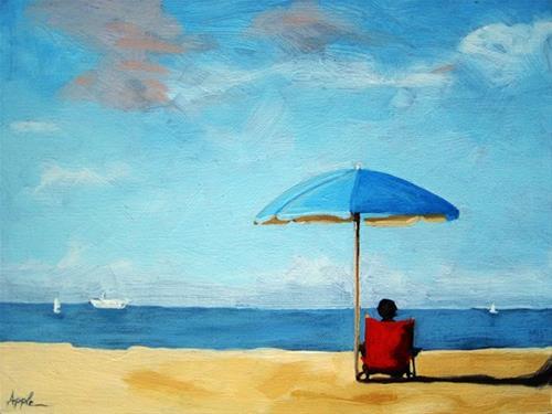 """Special TIme - ocean beach figurative art"" original fine art by Linda Apple"