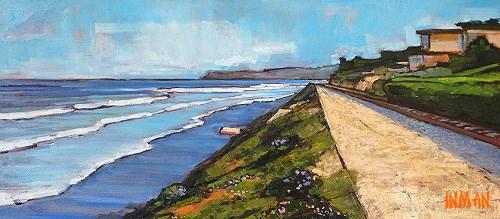 """Del Mar 11 Street Beach"" original fine art by Kevin Inman"