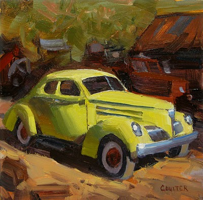 """""""YELLOW CAR"""" original fine art by James Coulter"""