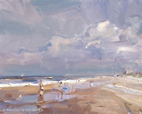 """Seascape summer # 9 Sunny beach - zonnig strand"" original fine art by Roos Schuring"