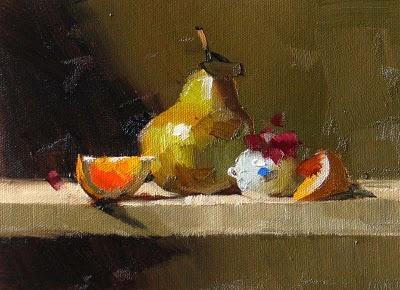 """Orange Pear --- Sold"" original fine art by Qiang Huang"