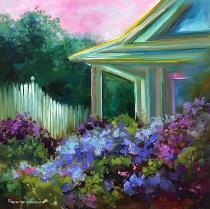 """My New Print Store and Maple Cottage Hydrangea Garden - Flower Painting Classes and Workshops by Nan"" original fine art by Nancy Medina"