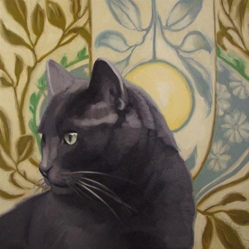 """""""Handsome Coco cat on pattern painting Hoeptner"""" original fine art by Diane Hoeptner"""