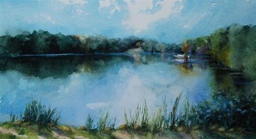 """Lake Logan, Early Morning, 7.5 x 13.5 Watercolor, Landscape"" original fine art by Donna Pierce-Clark"