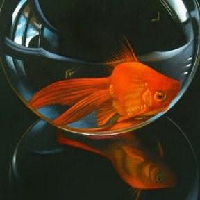 """Ruby Gold No. 3 4x4"" original fine art by M Collier"