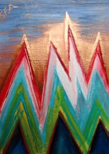 """""""3013 HIMALAYAS ACEO with mat"""" original fine art by Sea Dean"""