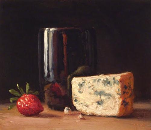 """""""Still Life with Strawberry and Bleu Cheese"""" original fine art by Abbey Ryan"""