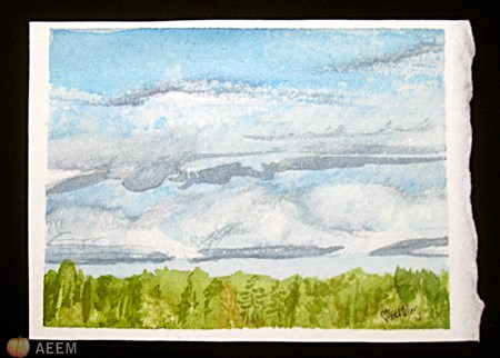 """Cloudy Lake Country"" original fine art by A.E.E. Miller"
