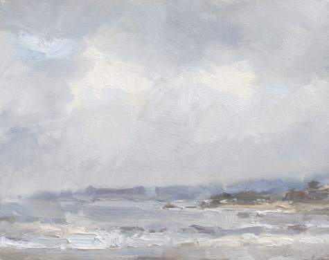 """""""Winning Painting Morning light and fog at Monastery beach (Cal16) (sold)"""" original fine art by Roos Schuring"""