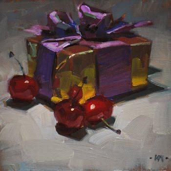 """Cherry Christmas"" original fine art by Carol Marine"