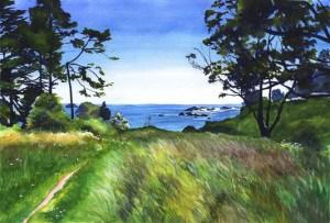 """Secret Trail to the Beach"" original fine art by Mariko Irie"