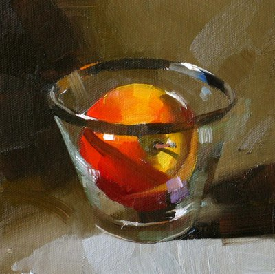 """""""A Glass of Apple --- Sold"""" original fine art by Qiang Huang"""